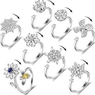 8 Pieces Fidget Rotating Rings Women Cubic Zirconia Adjustable Anxiety Ring Rotatable Calming Ring for Women Meditation Re...