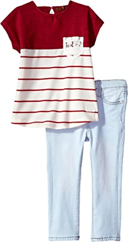 7 For All Mankind Kids - Two-Piece Color Block Tee and Jeans Set (Toddler)