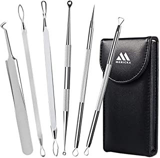 MERICKA - Blackhead Remover Comedone Extractor, Pimple and acne remover Curved Blackhead Tweezers Kit, 6-in-1 Professional...