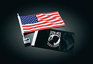 Kuryakyn 4254 Motorcycle Accessory: Vertical Flag Mount Kit with American Flag and POW/MIA Flag, Universal Fit for Motorcycles with 1/2