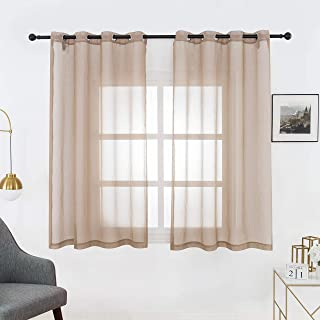 Bermino Faux Linen Sheer Curtains Voile Grommet Semi Sheer Curtains for Bedroom Living Room Set of 2 Curtain Panels 54 x 45 inch Brown