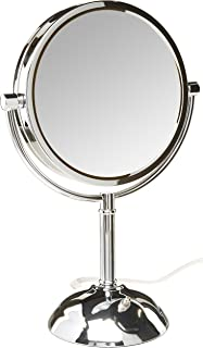 8.5-Inch 72-Ounce Jerdon HL8510NL Tabletop Two-Sided Swivel LED Vanity Mirror with 8x Magnification Nickel Finish