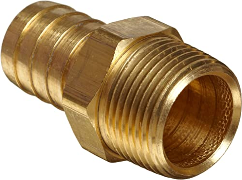 "Anderson Metals 57001-1212 Brass Hose Fitting, Connector, 3/4"" Barb x 3/4"" Male Pipe"