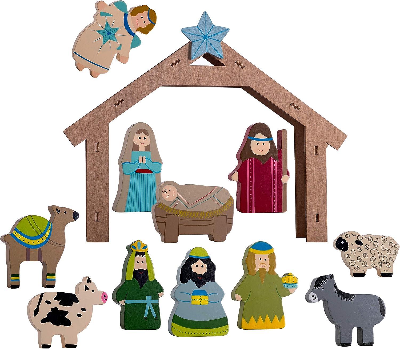 WeRChristmas Wooden Nativity Set Spasm price Decoration Christmas Multi-Col Translated