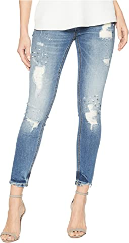 Distressed Mid-Rise Skinny with Rhinestones and Pearls in Medium Blue
