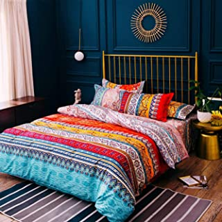 Bohemian Duvet Cover Set Full Colorful Floral Boho Striped Bedding Set Ultra Soft Microfiber Double Duvet Cover Southwestern Indian Tribal Reversible Bedding Exotic Style Decor Bohemia Comforter Cover