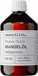 Mandelöl kaltgepresst 500ml - 100% reines Mandelöl Prunus Dulcis von wesentlich. - feines Öl zur Pflege von Haut und Haar - perfektes Massageöl