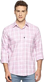LEVIZO Men's Checkered 100% Cotton Casual Classic fit Full Sleeves Shirt Pink Size XXL