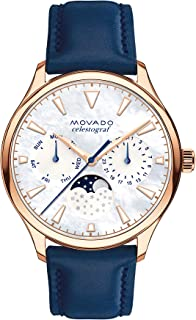 Movado Women's Heritage Rose Gold Watch with a Printed Index Dial, Blue, Gold/White (Model 3650011)
