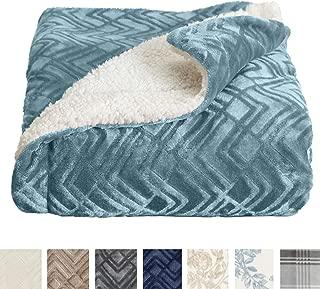 Home Fashion Designs Premium Reversible Sherpa and Sculpted Velvet Plush Luxury Blanket. Fuzzy, Soft, Warm Berber Fleece Bed Blanket Brand. (King, Blue Surf)