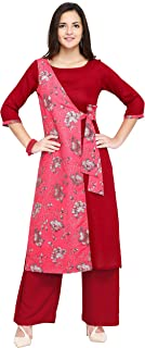 Oomph! A-line Rayon Kurti Palazzo Set for Women - Red_mk111set