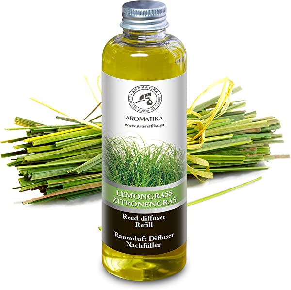 Lemongrass Reed Diffuser Refill W Natural Essential Lemongrass Oil 200ml Fresh Long Lasting Fragrance 0 Alcohol Best For Aromatherapy Home Office Fitness Club Restaurant Boutique