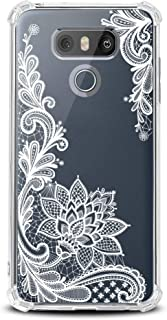 LG G6 Case for Girls N Women Clear with Lace Flowers Design Shockproof Bumper Protective Cell Phone Cover for LG-G6,  LG G6 Plus 2017 Release Flexible Slim Fit Soft Rubber Cute White Floral Girly Case