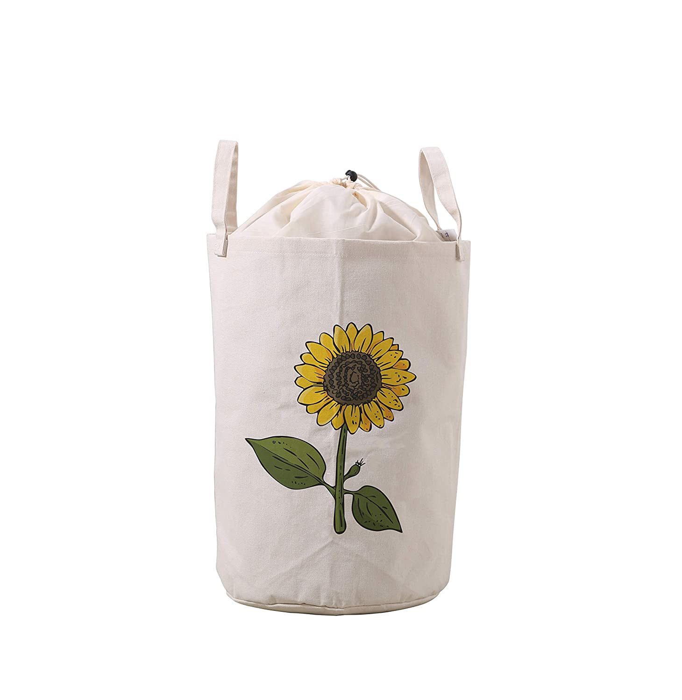 LifeCustomize Large Laundry Basket Hamper Cartoon Sunflower Leaf Collapsible Drawstring Storage Baskets Nursery Baby