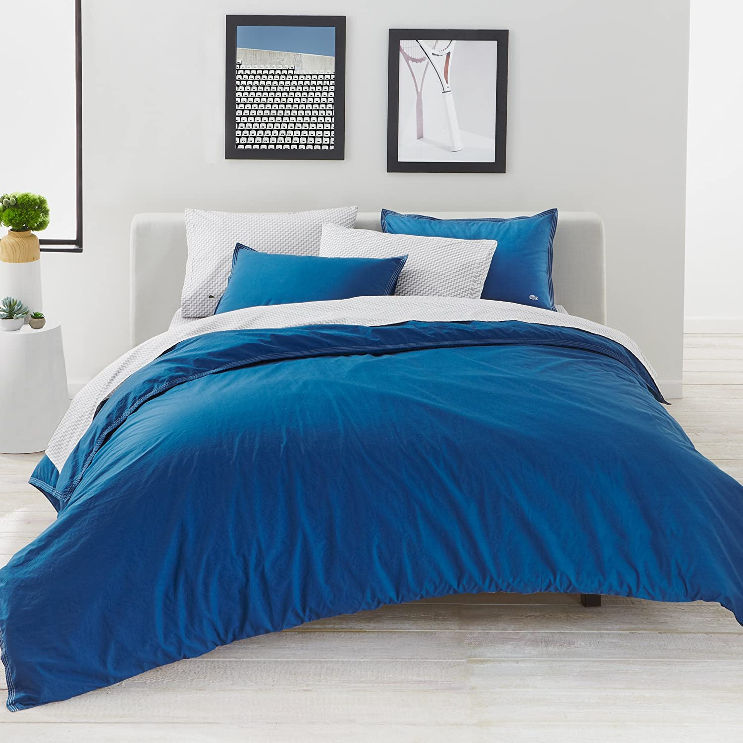 Lacoste Washed Solid Duvet Set, bluee Sapphire, King
