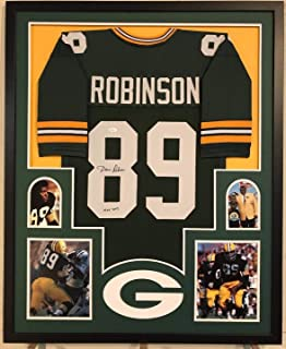FRAMED DAVE ROBINSON AUTOGRAPHED SIGNED INSCRIBE GREENBAY PACKERS JERSEY JSA COA