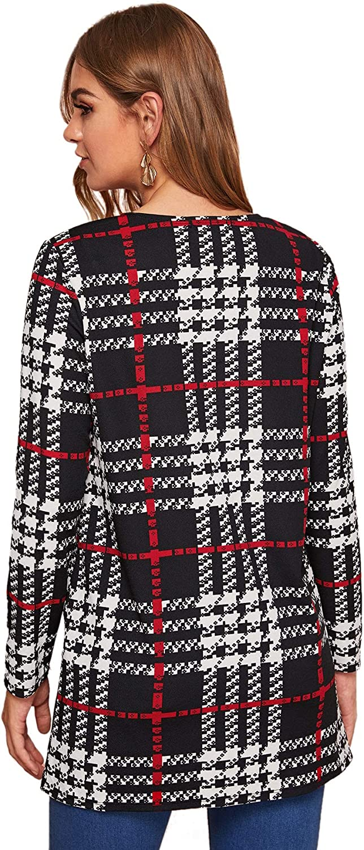 Verdusa Women's Tartan Plaid Cardigan Open Front Long Sleeve Duster Coat Outerwear
