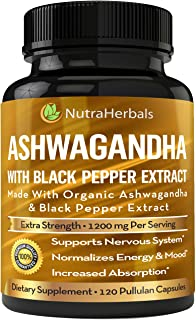 Ashwagandha Supplement Made with Organic Ashwaganda Root Powder 1200mg with Black Pepper Extract for Increased Absorption ...