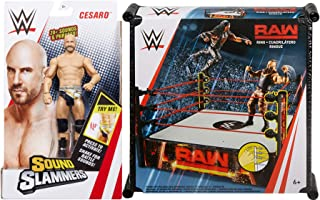 WWE Raw Cesaro Spring Loaded Mat! Bundled with Sound Slammers Action Figure Battle Wrestling 2 Items