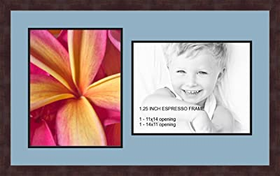 Art to Frames Double-Multimat-1061-837//89-FRBW26061 Collage Frame Photo Mat Double Mat with 1-12x12 and 1-8.5x11 Openings and Espresso Frame