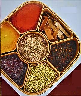Finaldeals Woven Style Square Masala Rangoli Box Dabba 7 Sections 700 ml Assorted Color Multicolor Spice Box