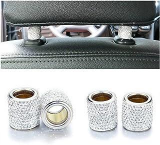 یقه های صندوق عقب اتومبیل Head صندوق عقب اتومبیل یقه حلقه های تزئینی Bling Bling Crystal Diamond Ice برای اتومبیل SUV کامیون دکوراسیون داخلی Blings-4 Pack White