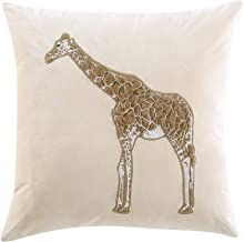 Chezmoi Collection Velvet Faux Fur Giraffe Throw Pillow Removable Cover with Pillow Insert Decorative for Sofa Couch Livin...