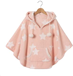 Collections Fluffy Fleece Hooded Pom-Pom Poncho, 2-12 Years