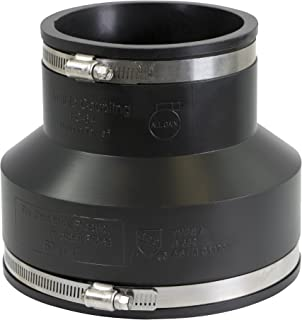 EVERCONNECT 4838 Flexible Pvc Reducing Rubber Coupling with Stainless Steel Clamps, 6 x 4 Inch, Black