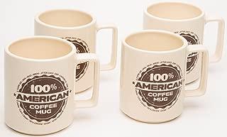 American Mug Pottery Ceramic Square Handle Coffee Mug, Made in USA, Ivory (17 oz - Pack of 4)