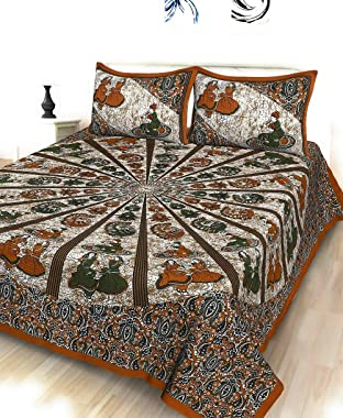 Shorya Textile 144 TC Flat Printed 100% Pure Cotton Double Bedsheet with 2 Pillow Covers (90 * 100 Inch)(Jaipuri Print)