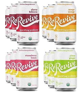 Revive Organic Sparkling Probiotic Soda - Variety Pack - No Refrigeration Required - Crisp, Light, Refreshing Beverage - 5 Billion Live Probiotics   (Mixer Pack, 12pack)