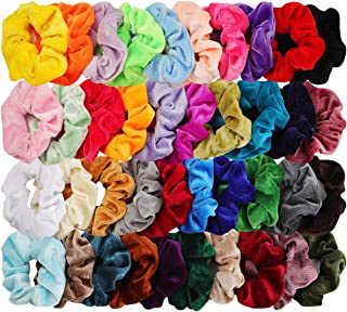 40pcs Hair Scrunchies Velvet Elastic Hair Bands Scrunchy Hair Ties Ropes 40 Pack Scrunchies for Women or Girls Hair Accessories - 40 Assorted Colors Scrunchies