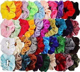 40pcs Hair Scrunchies Velvet Elastic Hair Bands Scrunchy Hair Ties Ropes 40 Pack Scrunchies for Women or Girls Hair Accessories - 40 Assorted Colors Scrunchies