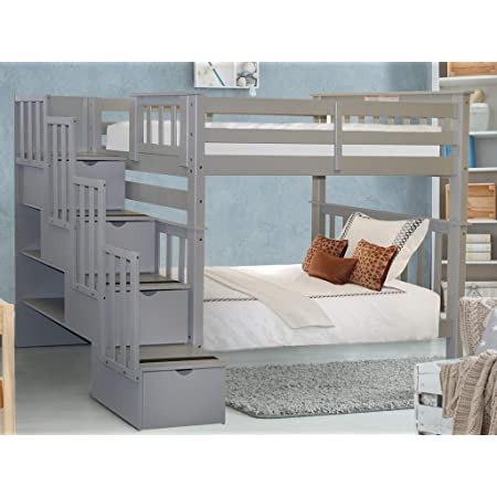 Amazon Com Bedz King Tall Stairway Bunk Beds Twin Over Twin With 4 Drawers In The Steps Gray Furniture Decor