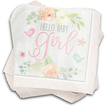 Includes Dessert Plates and Napkins in a Pink Baby Carriage Theme for 16 Guests Boston International Pink Baby Shower Party Bundle