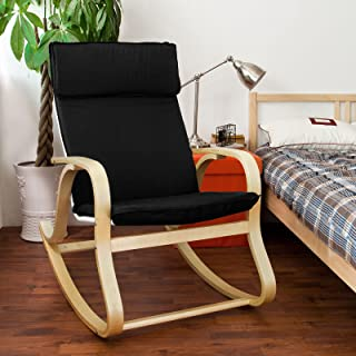 Haotian FST15-SCH,Black Comfortable Relax Rocking Chair, Lounge Chair Relax Chair with Cotton Fabric Cushion