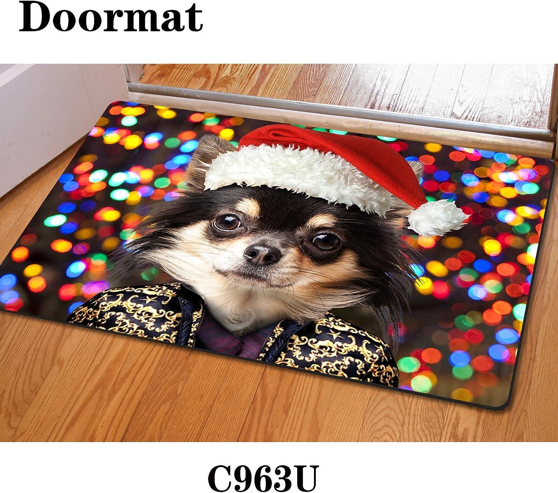 Christmas mat door rubber non-slip bathroom mat Santa Claus living room bedroom 40  60cm , c963 , 4060