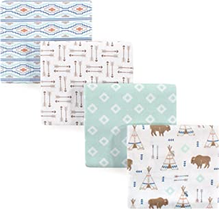 Hudson Baby Unisex Baby Cotton Flannel Receiving Blankets, 4-Pack, Teepee, One Size