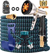 BLAVOR Expandable Garden Hose 50ft,Strongest Expanding 3750D,Flexible and Durable 4-Layers Latex Water Hose with 10-Way Heavy Duty Zinc Water Spray Nozzle, 2-Way Splitter,Solid Brass Fittings