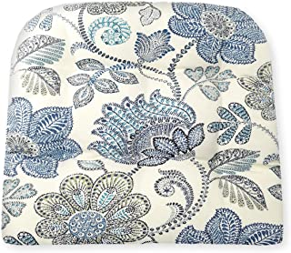 Boutique Floral Wicker Chair Cushion - Size Large - Indoor / Outdoor Fade Resistant Water Repellant - Latex Foam Patio Cus...