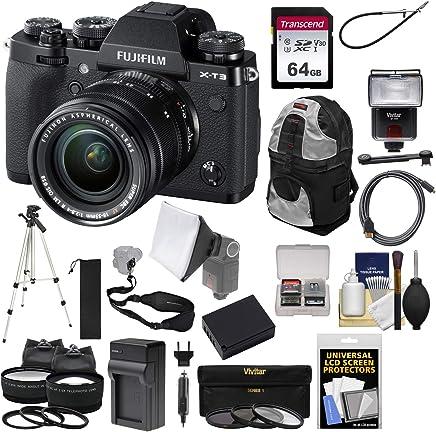 $1914 Get Fujifilm X-T3 4K Wi-Fi Digital Camera & 18-55mm XF Lens (Black) with 64GB Card + Battery + Charger + Flash + Backpack + Tripod + 2 Lens Kit
