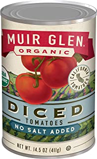 Muir Glen Canned Tomatoes, Organic Diced Tomatoes, No Salt & No Sugar Added, 14.5 Ounce Can
