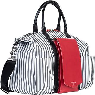 TWELVElittle Peek a Boo Satchel Diaper Bag baby changing bag- Stripe/Red