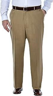 Haggar Men's Big-Tall Premium No Iron Classic-Fit Expandable-Waist Plain-Front Pant