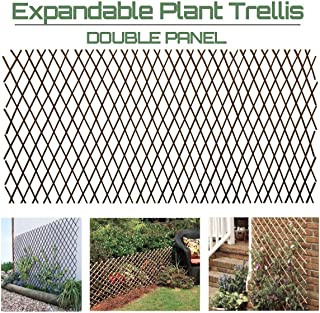 GLANT Lattice Fence Willow Expandable Plant Climbing Lattices Trellis Fence,Open Screen Willow Fencing,Willow Expandable Trellis Fence (2)