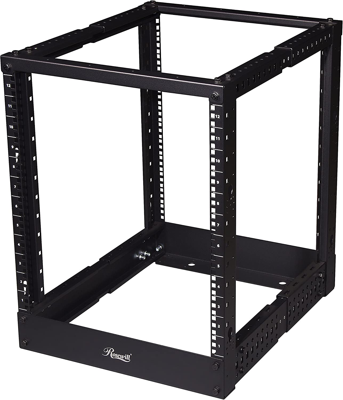 Rosewill Adjustable 12U Open Frame Server Rack with Hooks for Cable Management. Computer Rack, Mini Server Rack, Storage Network Rack Cabinet for Rackmount Server Case/Chassis - RSR-4P12U001