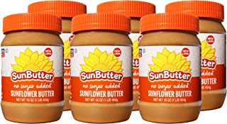 SunButter Natural No Sugar Added Sunflower Butter with hint of salt (Pack of 6)