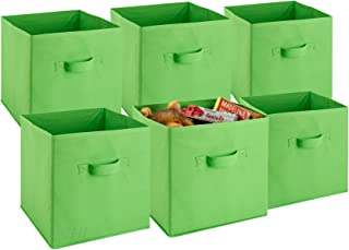 Foldable Cube Storage Bins - 6 Pack - These Decorative Fabric Storage Cubes are Collapsible and Great Organizer for Shelf, Closet or Underbed. Convenient for Clothes or Kids Toy Storage (Green)