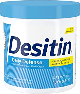 Desitin Daily Defense Baby Diaper Rash Cream with Zinc Oxide to Treat, Relieve & Prevent diaper rash, Hypoallergenic, Dye-...